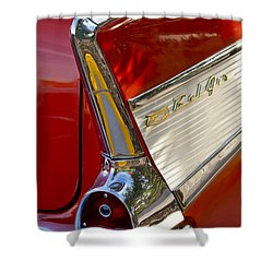 1957 Chevrolet Belair Taillight Shower Curtain by Jill Reger