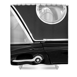 1957 Ford Thunderbird Window Black And White Shower Curtain by Jill Reger