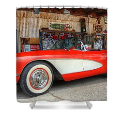 1957 Little Red Corvette Route 66 Shower Curtain by Bob Christopher