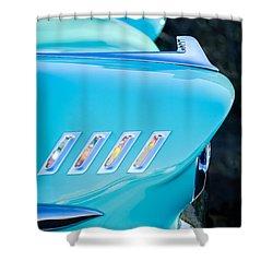 1958 Chevrolet Belair Hood Ornament Shower Curtain by Jill Reger