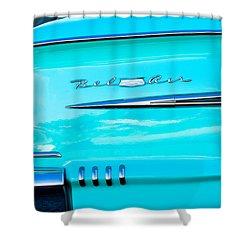 1958 Chevrolet Belair Tail Emblem Shower Curtain by Jill Reger