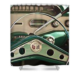 1958 Chevrolet Impala Steering Wheel Shower Curtain by Jill Reger