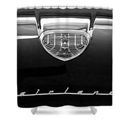 1958 Ford Fairlane 500 Victoria Hood Emblem Shower Curtain by Jill Reger