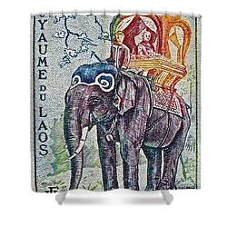 1958 Laos Elephant Stamp Shower Curtain
