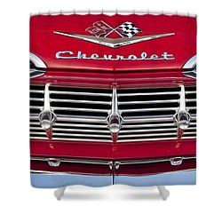 1959 Chevrolet Grille Ornament Shower Curtain by Jill Reger