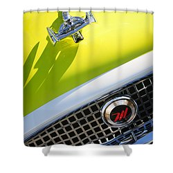1959 Nash Metropolitan 1500 Convertible Hood Ornament - Grille Emblem Shower Curtain by Jill Reger