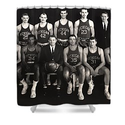 1959 University Of Michigan Basketball Team Photo Shower Curtain by Mountain Dreams