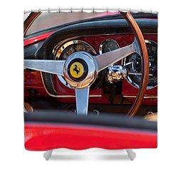 1960 Ferrari 250 Gt Cabriolet Pininfarina Series II Steering Wheel Emblem Shower Curtain by Jill Reger
