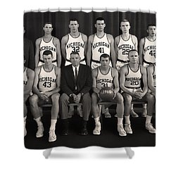 1960 University Of Michigan Basketball Team Photo Shower Curtain by Mountain Dreams