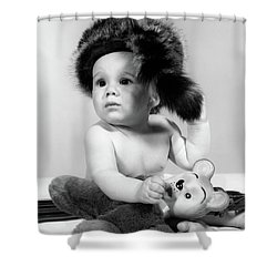 1960s Baby Wearing Coonskin Hat Shower Curtain