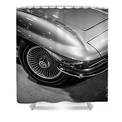 1960's Corvette C2 In Black And White Shower Curtain by Paul Velgos