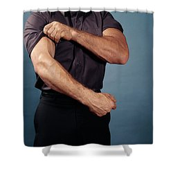 1960s Man Torso Rolling Up Sleeves Shower Curtain