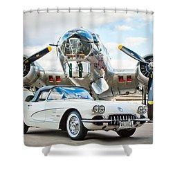 1961 Chevrolet Corvette Shower Curtain by Jill Reger