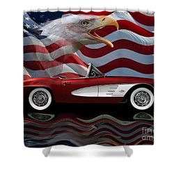 1961 Corvette Tribute Shower Curtain by Peter Piatt
