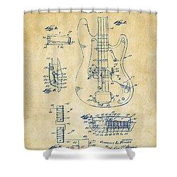 1961 Fender Guitar Patent Artwork - Vintage Shower Curtain