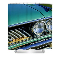 1961 Pontiac Bonneville Grille Emblem Shower Curtain by Jill Reger
