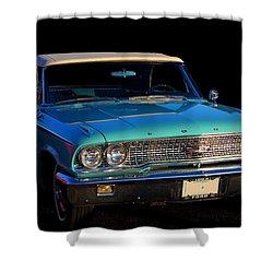 1963 Ford Galaxy Shower Curtain by Davandra Cribbie