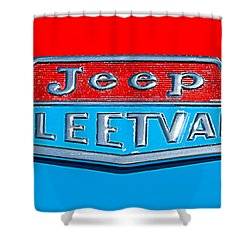 1963 Jeep Fleetwood Emblem Shower Curtain by Jill Reger