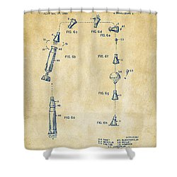 1963 Space Capsule Patent Vintage Shower Curtain
