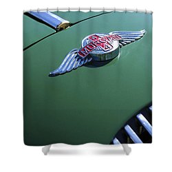 1964 Morgan 44 Hood Ornament Shower Curtain by Jill Reger