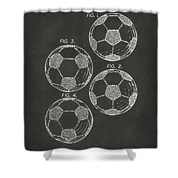 1964 Soccerball Patent Artwork - Gray Shower Curtain