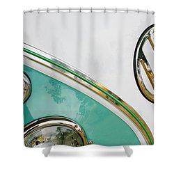 1964 Volkswagen Samba 21 Window Bus Vw Emblem Shower Curtain by Jill Reger