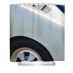 Shower Curtain featuring the photograph 1965 Shelby Mustang Gt350 Wheel Emblem by Jill Reger