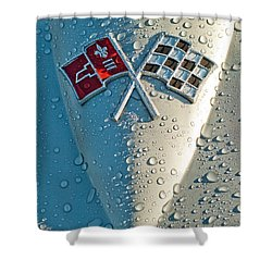 1966 Chevrolet Corvette Sting Ray Hood Emblem Shower Curtain by Jill Reger