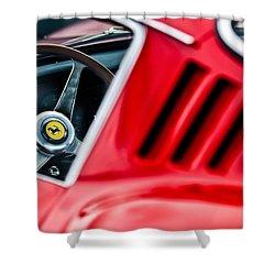 Shower Curtain featuring the photograph 1966 Ferrari 275 Gtb Steering Wheel Emblem -0563c by Jill Reger