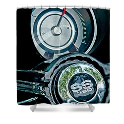 1967 Chevrolet Camaro  Ss Steering Wheel Emblem Emblem Shower Curtain by Jill Reger