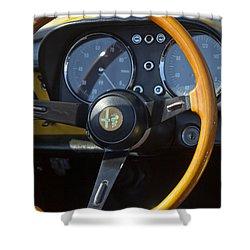 1969 Alfa Romeo 1750 Spider Steering Wheel Shower Curtain by Jill Reger