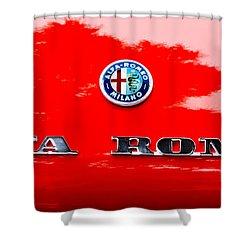 1969 Alfa Romeo Spider Veloce Iniezione Emblem Shower Curtain by Jill Reger
