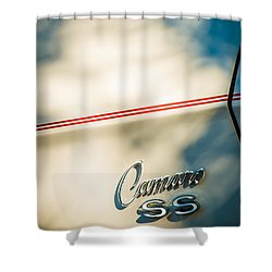 1969 Chevrolet Camaro Rs-ss Indy Pace Car Replica Side Emblem Shower Curtain by Jill Reger
