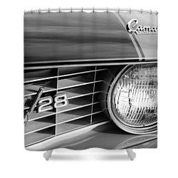 1969 Chevrolet Camaro Z-28 Grille Emblems Shower Curtain by Jill Reger