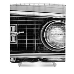 1969 Ford Mustang Mach 1 Grille Emblem Shower Curtain by Jill Reger