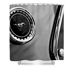 1969 Ford Mustang Mach 1 Side Emblem Shower Curtain by Jill Reger