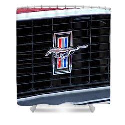 1969 Mustang Mach 1 Grille Emblem Shower Curtain by Jill Reger