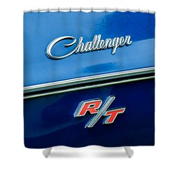 1970 Dodge Challenger Rt Convertible Emblem Shower Curtain by Jill Reger