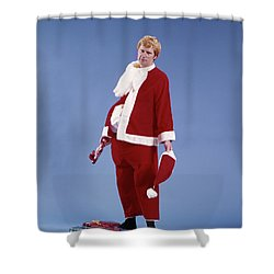 1970s Exhausted Man Father In Santa Shower Curtain