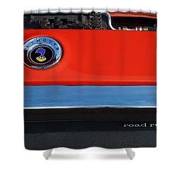 1972 Plymouth Road Runner Hood Emblem Shower Curtain by Jill Reger