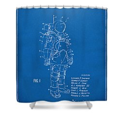 1973 Space Suit Patent Inventors Artwork - Blueprint Shower Curtain