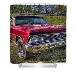 1976 Chevelle Ss 396 Shower Curtain by Debra and Dave Vanderlaan