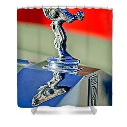 1976 Rolls Royce Silver Shadow Hood Ornament Shower Curtain by Jill Reger