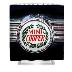 1982 Austin Mini Cooper Badge Shower Curtain