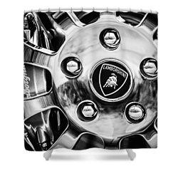 Shower Curtain featuring the photograph 1997 Lamborghini Diablo Roadster  Wheel Emblem -1303bw by Jill Reger