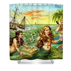 19th C. Mermaids At Ship Wreck Shower Curtain