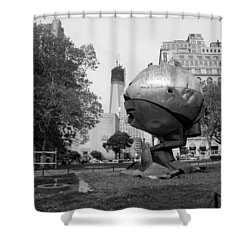1w T C And The W T C Fountain Sphere In Black And White Shower Curtain by Rob Hans
