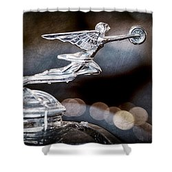 Shower Curtain featuring the photograph 1930 Packard Model 733 Convertible Coupe Hood Ornament by Jill Reger