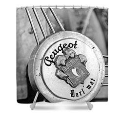 1937 Peugeot 402 Darl'mat Legere Special Sport Roadster Recreation Steering Wheel Emblem Shower Curtain by Jill Reger