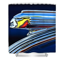 1939 Pontiac Silver Streak Chief Hood Ornament Shower Curtain by Jill Reger